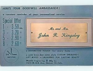 Pre-1980 Postcard Ad WADDLE CUSTOM ENGRAVING Denver Colorado CO HM4429