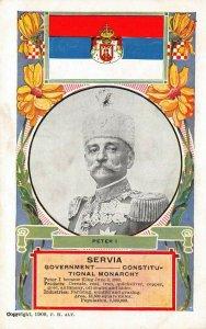 LP51 Serbia Servia Peter I    Royalty Royal Family Postcard Flag King