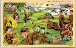 Vintage PANAMA Postcard Khaki Clad Greetings Army Military Linen Maduro c1940s
