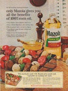 Mazola Corn Oil 1965 Print Ad, Shish Kabob Marinade