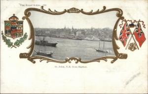 St. John New Brunswick From Harbor - Patriotic Border c1910 Postcard