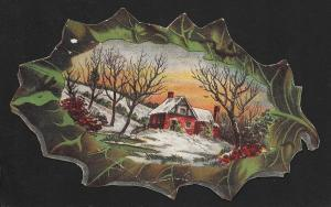 VICTORIAN TRADE CARD Willett's Coffee Die-cut Leaf