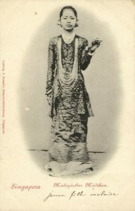 straits settlements, SINGAPORE, Native Malaysian Girl (1899) Postcard