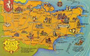 Postcard a MAP of Kent, The Garden of England #K