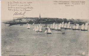 Sailboats in Harbor on the Emerald Coast, Saint Malo, Ille et Vilaine, France...