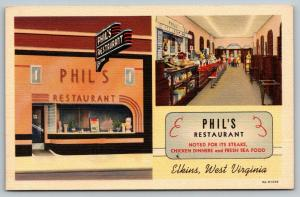 Elkins West Virginia~Phil's Restaurant~Inside Out~Waitresses~ART DECO~1939 Linen