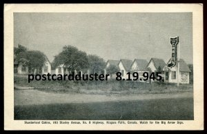 945 - NIAGARA FALLS Ont Postcard 1920s Stanley Ave. Slumberland Cabins by Leslie