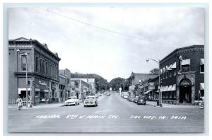 Postcard Corner of 5th & Main Street, Sac City, Iowa IA Beer Bank Signs RPPC H44