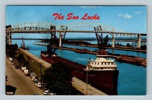 Sault St. Marie, Soo Locks, Freighter, MacArthur Lock, Chrome Michigan Postcard