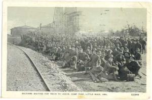Soldiers Waiting to Leave Camp Pike, Little Rock, Arkansas AR, 1918 White Border