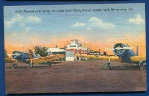 Montgomery Alabama al 1940s WWII Aviation Gunter Field Airplanes linen postcard