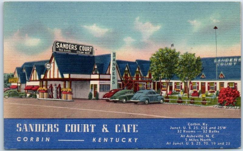 Corbin KY Postcard SANDERS COURT & CAFÉ Route 25 Roadside Linen KFC 1950s Unused