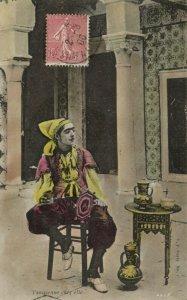 PC CPA JUDAICA, TYPES & SCENES, TUNISIENNE CHEZ ELLE, Vintage Postcard (b25239)