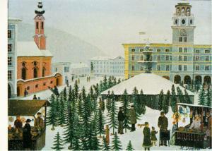 Christbaummarkt in Salzburg Christmas Tree Market by Regine Dapra Art Postcard