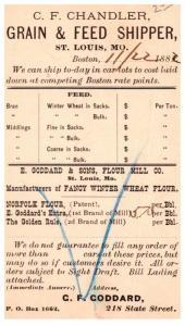 Missouri St.Louis , C'F.Chandler Grain & Feed Shipper Nov.22, 1882 , Can...