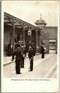 Vintage Military Postcard Changing Guard, 8th (King's Royal Irish) Hussars