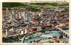 Minnesota Minneapolis Aerial View Milling District and Heart Of City Curteich