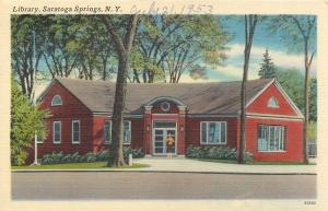 Saratoga Springs New York~Library~1953 Linen Postcard