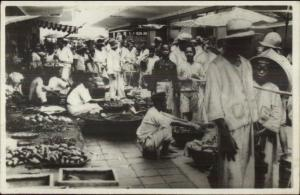 Bandoeng Indonesia Market Scene c1920s Real Photo Postcard