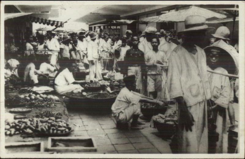 Bandoeng Indonesia Market Scene c1920s Real Photo Postcard
