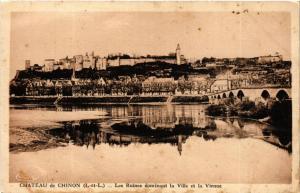 CPA AK Chateau de CHINON Les Ruines dominant la Ville et la VIENNE (611622)