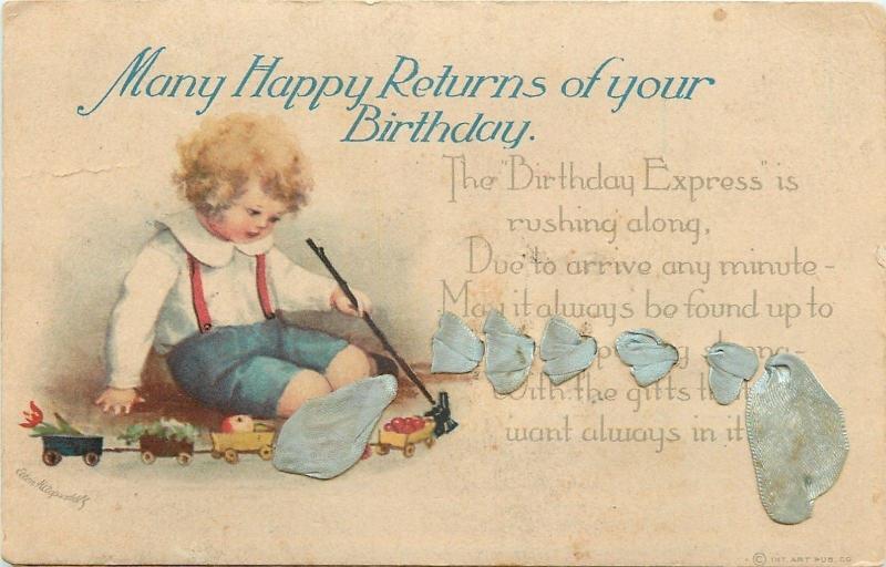 Ellen H Clapsaddle~Boy Puts Fruits & Flowers in Toy Freight Train~1919 Postcard