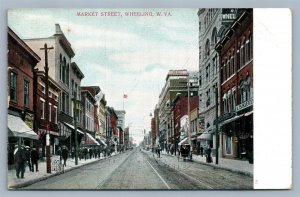 WHEELING WV MARKET STREET ANTIQUE POSTCARD