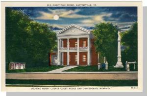Nice Martinsville, Virginia/VA Postcard,Court House/Monument