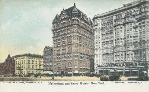 Netherland and Savoy Hotels, New York City, N.Y., Early Postcard, Unused