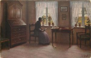 Danish artist V. Krogh  Holiday  old woman book lecture early art postcard