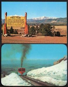 (2) COLORADO SPRINGS Pikes Peak Road Sign - Snow on Pikes Peak Cog Road - Chrome