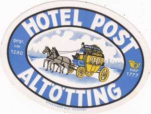 Germany Altoetting Hotel Post Vintage Luggage Label sk1186
