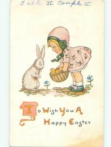 Pre-Linen Easter CUTE BUNNY RABBIT & GIRL WITH CHICKS IN BASKET AB3615