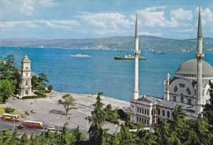 ISTANBUL, Turkey, 1950-1970's; Dolmabahce Mosque and Bosphorus, Ship