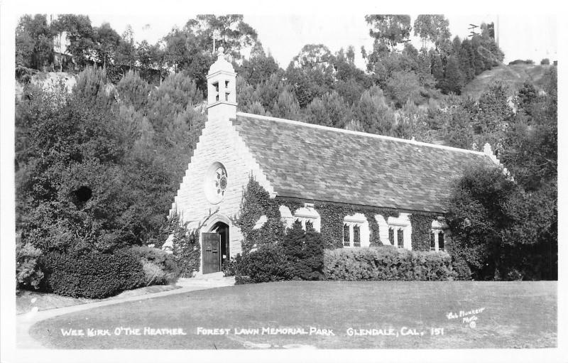 Glendale California~Forest Lawn Memorial Park-Wee Kirk O'The Heather~1950s RPPC