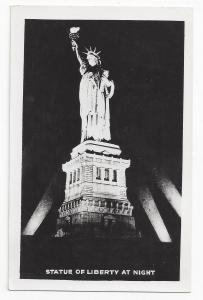 New York Statue of Liberty Night Grogan Real Photo Postcard