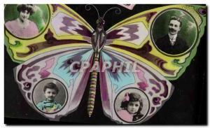 Old Postcard Fancy Butterfly Man Woman