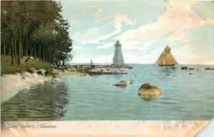 Karlsborg Lake Vättern Sweden~Vänä Light Lighthouse~Sailboat~Rocky Beach~c1906