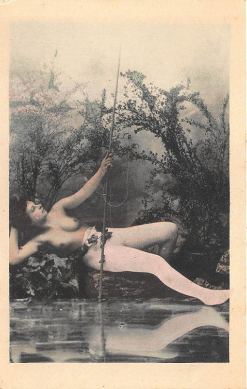 Nude Women Fishing Poles Set of Six Postcards