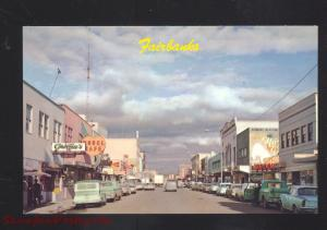 FAIRBANKS ALASKA DOWNTOWN STREET SCENE 1960's CARS VINTAGE POSTCARD STORES