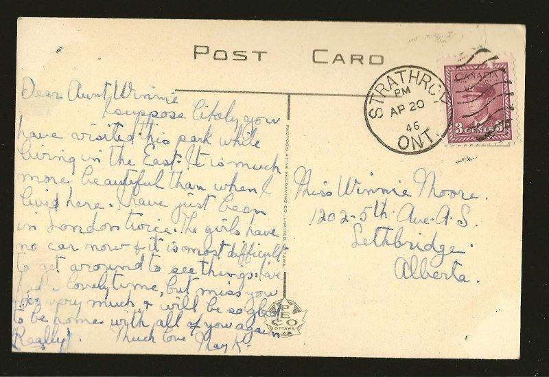 Postmarked 1946 Strathroy Ont Springbank Park London Ontario Color Postcard
