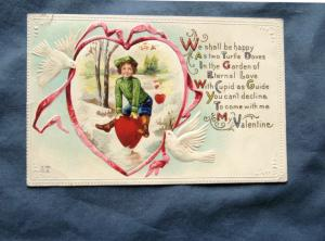 Valentine's Day Antique Postcard With Young Girl In Heart