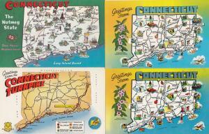 Connecticut Turnpike 4x Map Postcard s