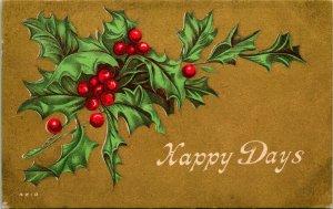 Vtg Carte Postale 1911 Victorien Noël Carte Doré & Texturé  Happy Days  Houx