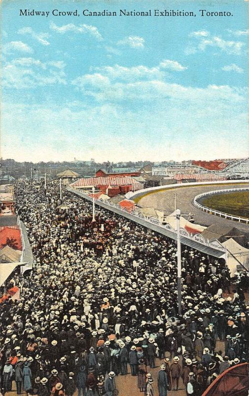 Canada Toronto Midway Crowd Canadian National Exhibition Postcard