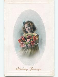 Pre-Linen CUTE GIRL HOLDING LARGE BOUQUET OF ROSES FLOWERS k4371