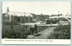 St Paul Minnesota~Como Park~Interurban Trolley Waiting Station & Bridge~1911 B&W
