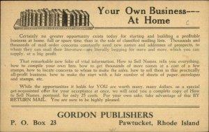Pawtucket RI Gordon Publishers Books Postcard