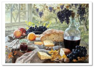 STILL LIFE Wine, cheese and bread by Zhdanov Russia Modern Postcard