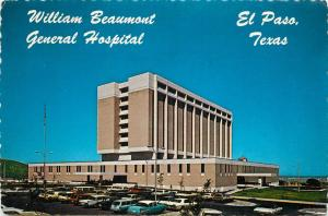 WILLIAM BEAUMONT GENERAL HOSPITAL EL PASO TEXAS POSTCARD OLD CARS FROM 1950's